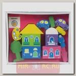 Деревянный конструктор Цветной городок, розовый, 14 деталей