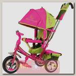 Трехколесный велосипед Beauty с ручкой, розово-зеленый
