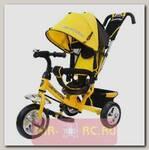 Трехколесный велосипед с ручкой-толкателем, желтый