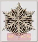 Деревянный механический 3D-пазл Wood Trick Вудик Снежинка